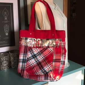 Aeropostale red plaid tote with silver bulldog